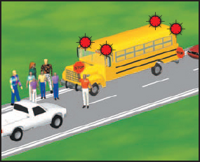 Image of a stopped school bus with flashing red lights.