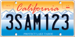 Photo of the Lake Tahoe  License Plate