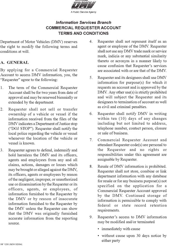 Graphic of Terms and Conditions Page One