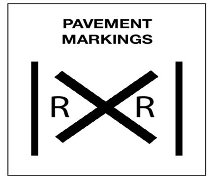Image of Pavement Markings mean the same as the Advance Warning Sign