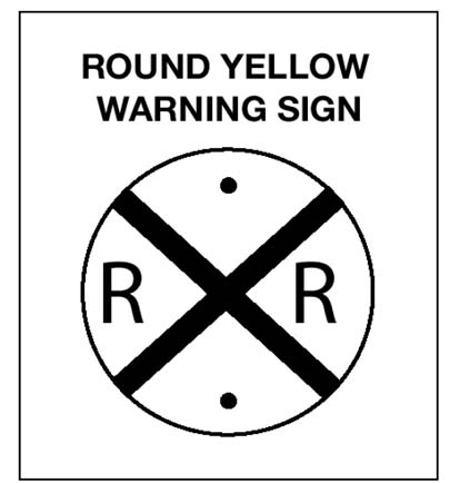 Image of Black-on-Yellow Warning Sign that is Placed Ahead of a Public Railroad-Highway Crossing