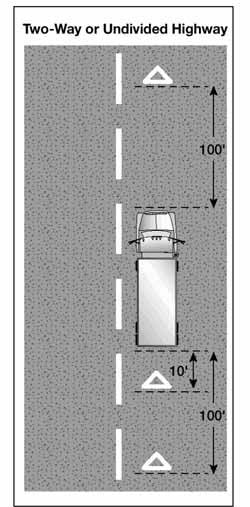 Image of Warning Devices Placement on a Two-Way or Undivided Highway