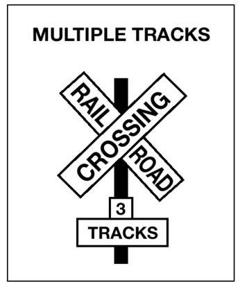 Multiple Tracks Railroad-Highway Crossing Sign
