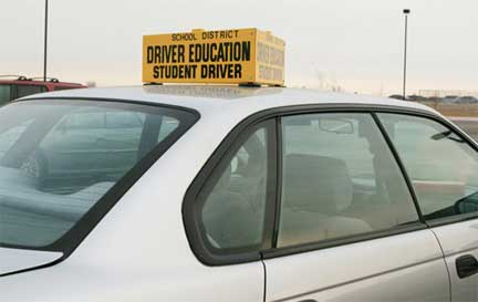 Auto with Driver Education - Student Driver sign.
