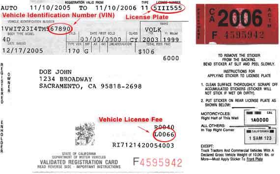 Registration Receipt Card Registration Card
