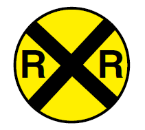 image of railroad crossing sign