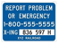 image of blue railroad sign with emergency information