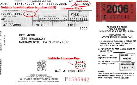 Sample registration card showing where to find vehicle identification number, license plate number, and vehicle license fee paid. Includes sticker and directions for placement.