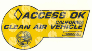 Yellow clean air vehicle (CAV) decal.