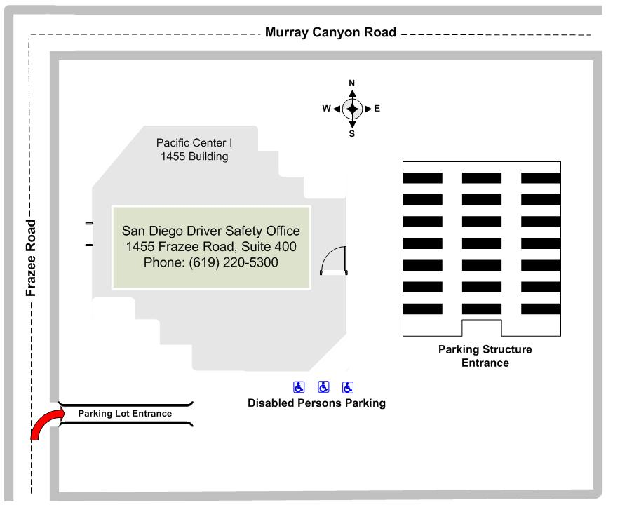 Diagram illustrating the San Diego Driver Safety Office site layout.