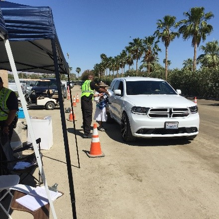 Image of a checkpoint at Coachella Music Festival