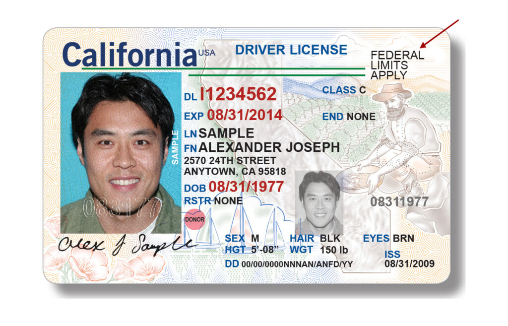 Image of Federal Non-Compliant Driver License with an arrow pointed to the text & Federal Limits; in the top right corner.