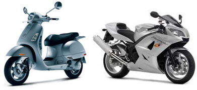 Image of two examples of motorcycles 150cc or larger (one moped, one motorcycle).