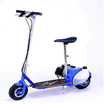 A blue electric scooter