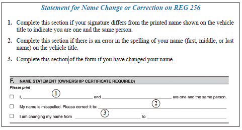 Name statement form.