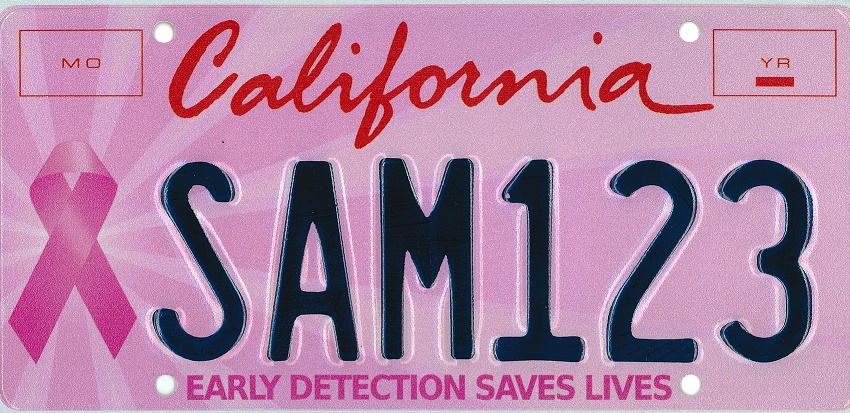 Breast Cancer Awareness special interest license plate.
