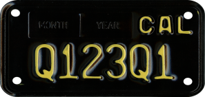 1960s Legacy motorcycle special interest license plate.