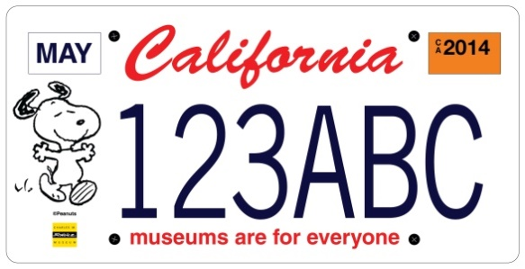 California Museums (Snoopy) special interest license plate.