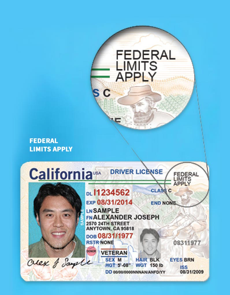 "Graphic demonstrating an ID that is not a valid REAL ID. IDs with the text ""Federal Limits Apply"" is not a valid REAL ID."